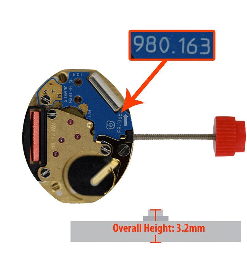Máy đồng hồ ETA 3 kim 980.163