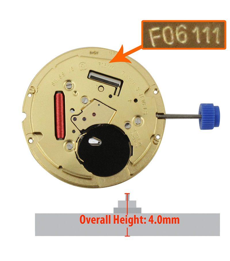Máy đồng hồ ETA 3 kim lịch 3h F06.111