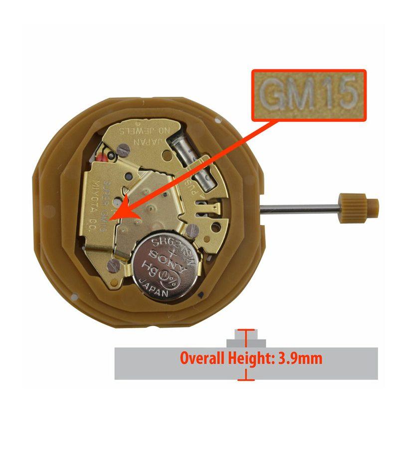 Máy đồng hồ Miyota 2 kim GM15 Lịch 3:00