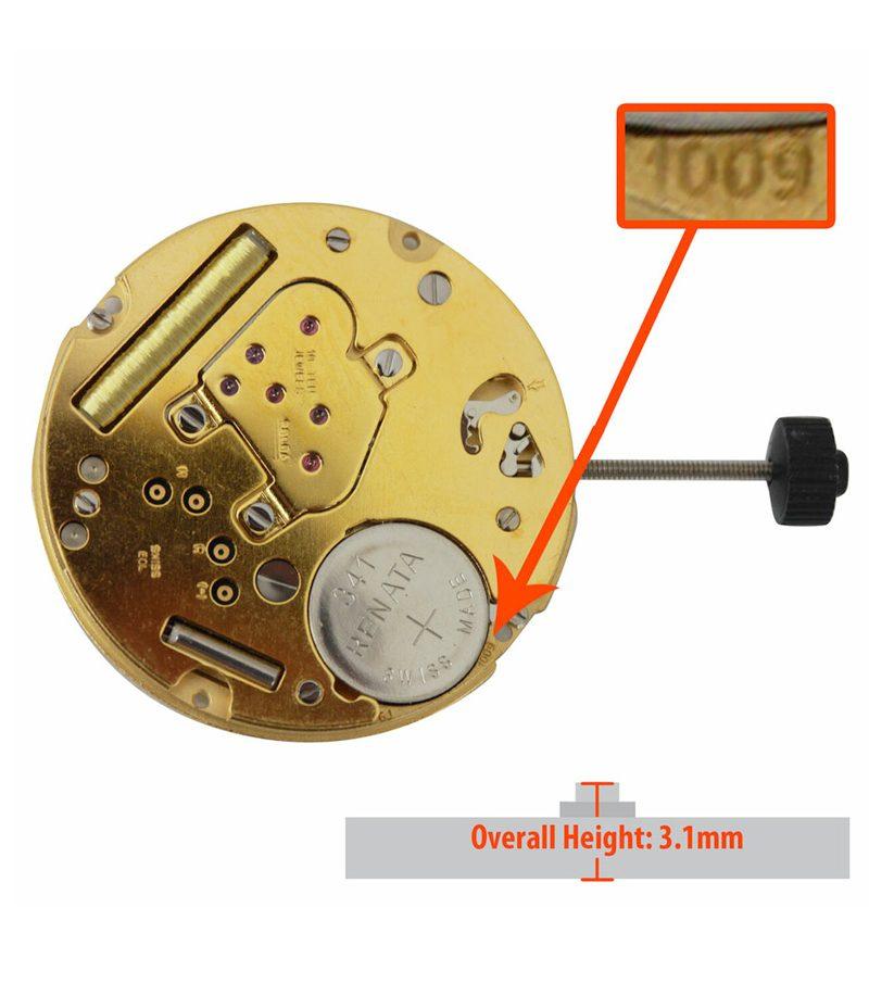 Máy đồng hồ Ronda 2 kim lịch 6h HQ1009